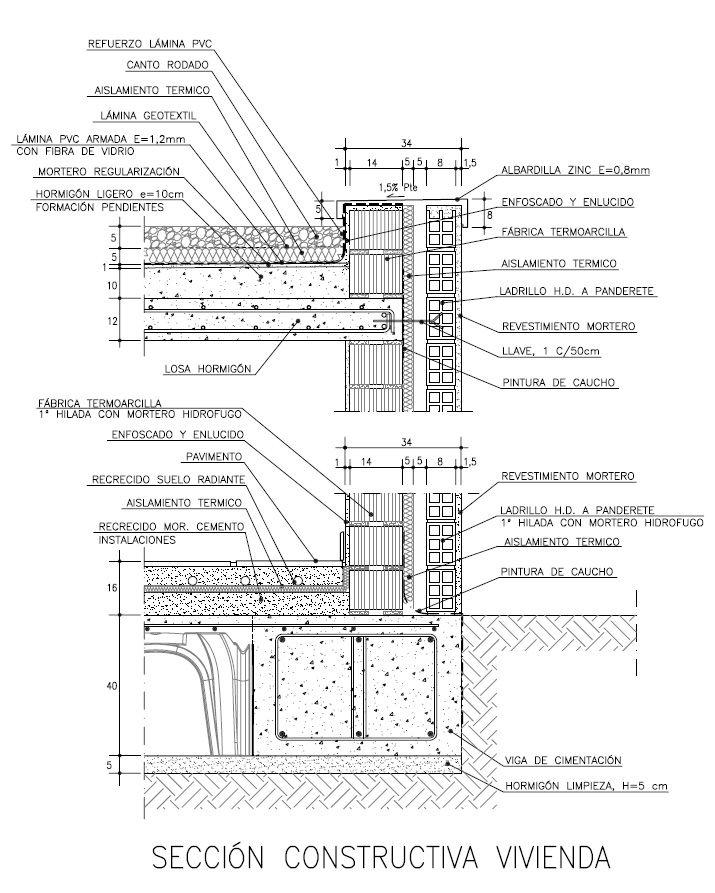 Sección constructiva vivienda