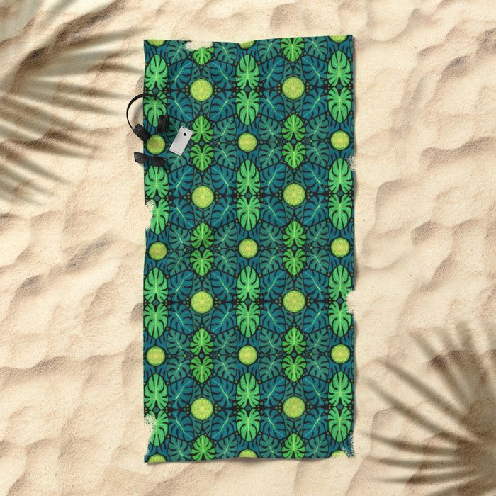 Monstera leaves, floral pattern, black, green & turquoise Beach Towel