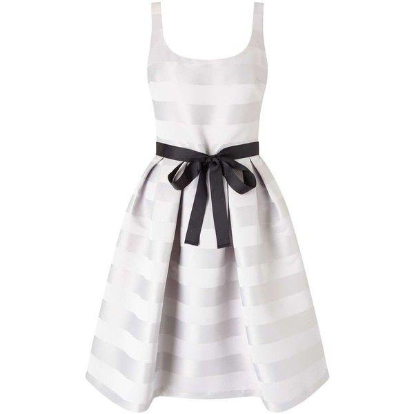 Miss Selfridge Stripe Prom Dress (255 SEK) ❤ liked on Polyvore featuring dresses, grey, grey stripe dress, grey dresses, grey striped dress, striped dresses and miss selfridge