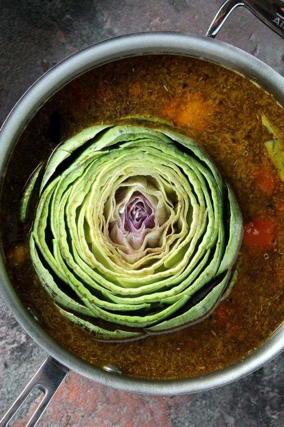 Artichoke in Spicy Tomato Broth Recipe #vegan
