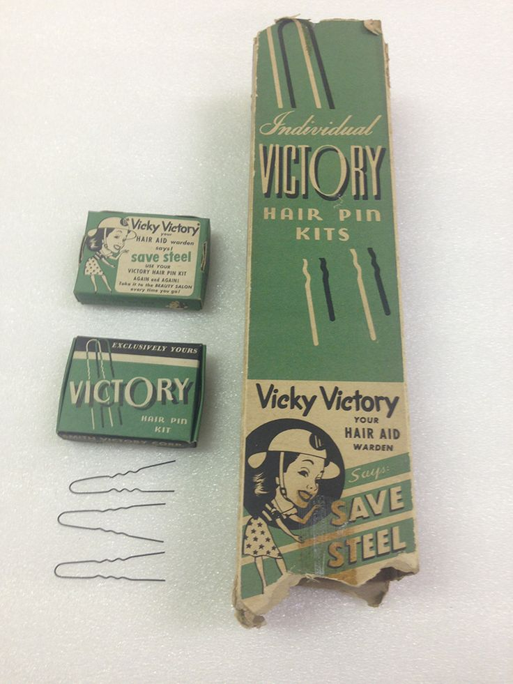 Vicky Victory's illustrated likeness appeared on hairpin kits produced by the Smith Victory Corp. of Buffalo, N.Y. during World War II. This particular set, now in the hands of the State Museum of Pennsylvania, came from the Beauty Salon of Adaline Roberts in Plymouth, Pa.