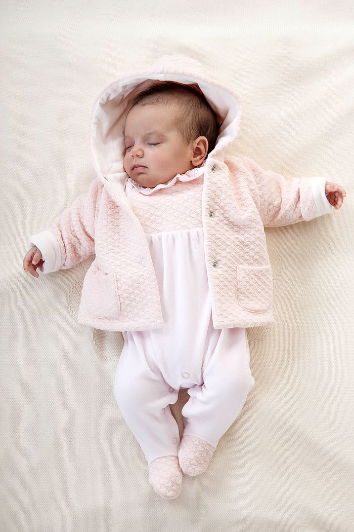 AW15: Whether they're working in quiet neutrals or saturated tones, the designers at Patachou, one of the couture collections at the LC Collections Showroom in New York, know how to make an outfit that gets noticed. The baby, for instance, will have guests agog when she wears the Newborn Pink quilted velour coat and Babygrow one-piece detailed with a smocked bib and feet. www.lccollectionsltd.com, www.patachou.com