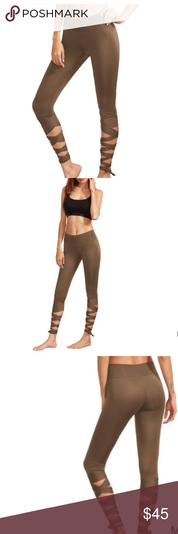 Asos Medium/high waisted legging w ties activewear Size xsmall and perfect condition brand new never worn. Asos. Coffee color . Spandex blend. Ties are adjustable ASOS Pants Leggings