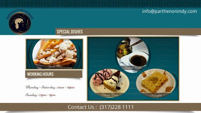We are one of the most famous restaurants in town and halal food along with buffet, lunch delivery as well dinner delivery that is made from only finest and fresh ingredients. Just try once to get the delicious experience of yummy food. Call us at (317)228 1111 or order online. https://www.parthenonindy.com