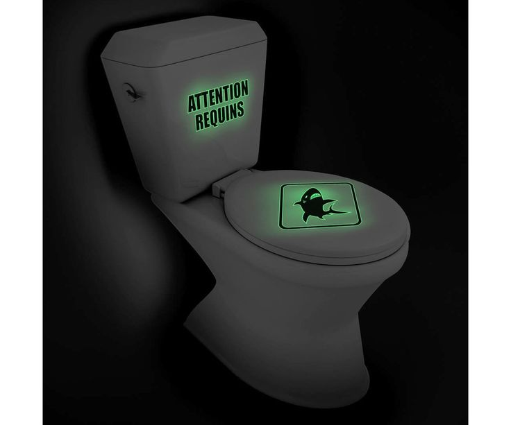 Planche Stickers WC Deco Toilettes Phosphorescent  Attention Requins