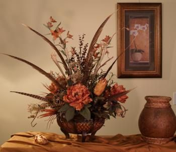 22 best silk flowers natural collection images on pinterest silk a striking arrangement in rich earthy tones accented with repens long center pheasant tail feathers faux flowersdried flowerssilk mightylinksfo Choice Image