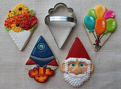 Ice Cream Cone Cookie Cutter Ideas - flower bouquet, gnome, spaceship, balloon bunch