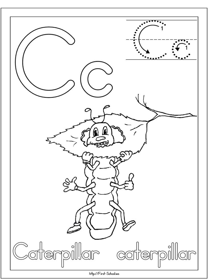 c caterpillar coloring page for c week