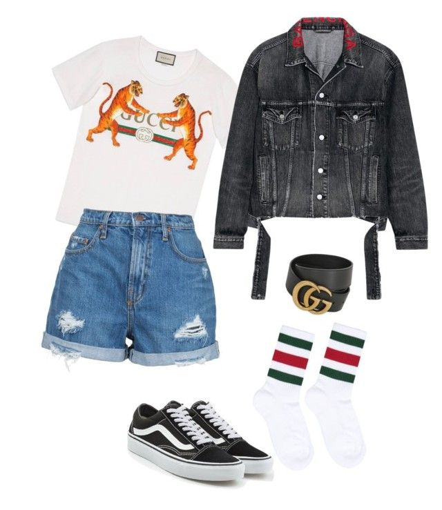 """""""vans feat gucci"""" by clarisa-pop on Polyvore featuring Gucci, Vans, Balenciaga and Nobody Denim"""