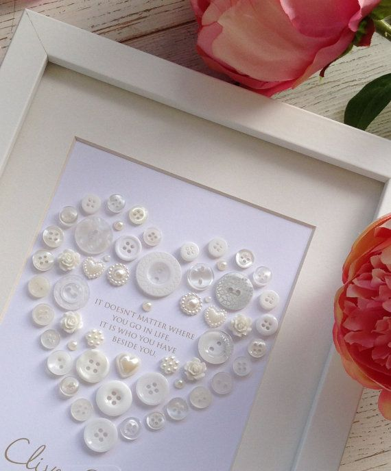 Unique Wedding Gift Framed Button Heart Picture by CatkinandRose