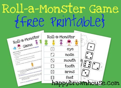 Roll-a-Monster Game {Free Printable}--Super cute and easy!