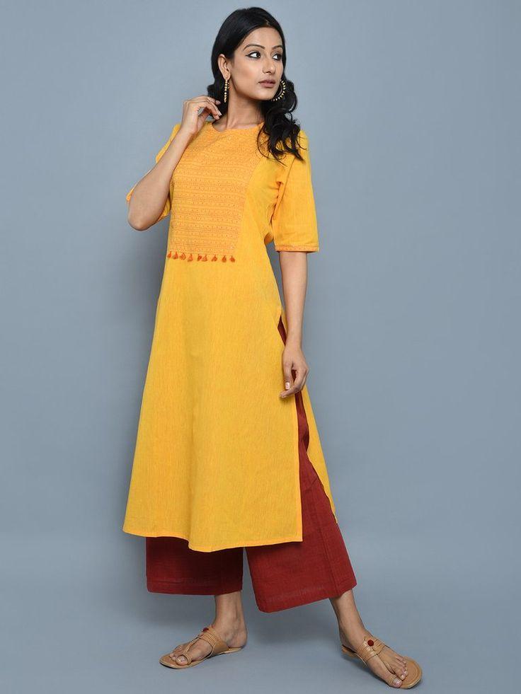 Yellow Red Mangalgiri Cotton Long Kurta