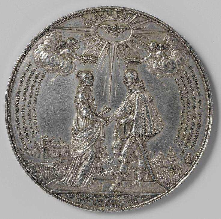 Johann Blum | Huwelijk van prins Willem II met Maria van Engeland, Johann Blum, 1641 | Zilveren penning. Voorzijde: prins en prinses geven elkaar hand; daarboven twee engeltjes met ieder een krans, en duif in een hemellicht; naast elk van beide personen opschrift; op achtergrond Hof van Holland. Keerzijde: prins in gedaante van Pallas, begeleid door engel ontvangt olijftak van Vrede vergezeld door Ceres en Amor; boven en onder opschrift.