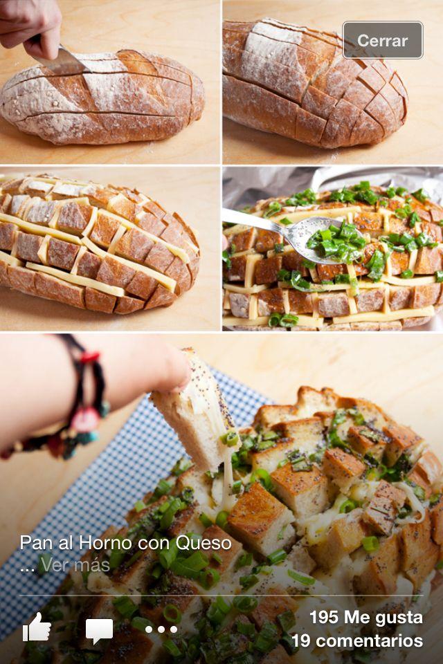 Pan artesanal o panini con queso manchego, mantequilla, pimienta, cebollin, 2 ajos finamente picados, revolver y vaciar al pan, meter al horno envuelto en aluminio por 15mins, destapar y meter otra ves para dorar