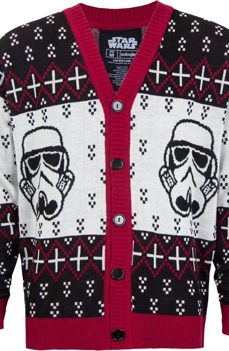 Even in a galaxy far, far away, wearing a stylish cardigan is a comfortable and fashionable way to show that you are a fan of the Star Wars franchise. The front of this button-up Star Wars cardigan sw