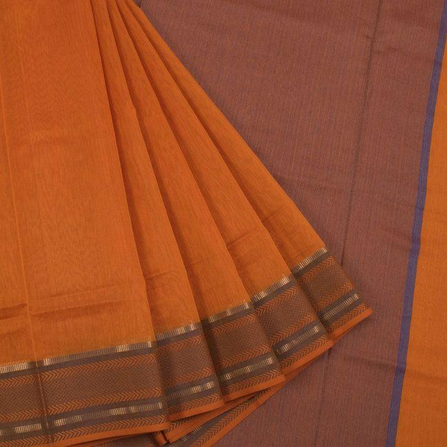 Buy online Handwoven Orange Maheshwari Silk Cotton Saree With Zari Border 10013206