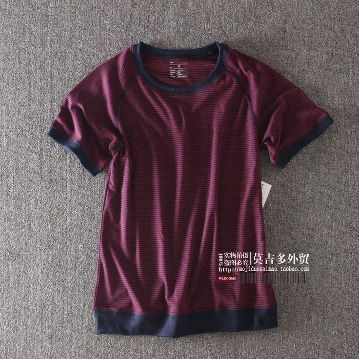 хлопок Тонкий круглый шею весной и летом мужской полосатый с короткими рукавами футболки море полосатой рубашки мужские дикий шею с коротким рукавом футболки - Taobao
