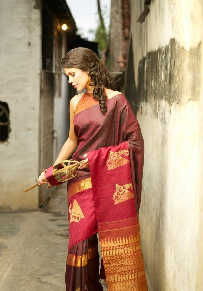 Brown and red saree