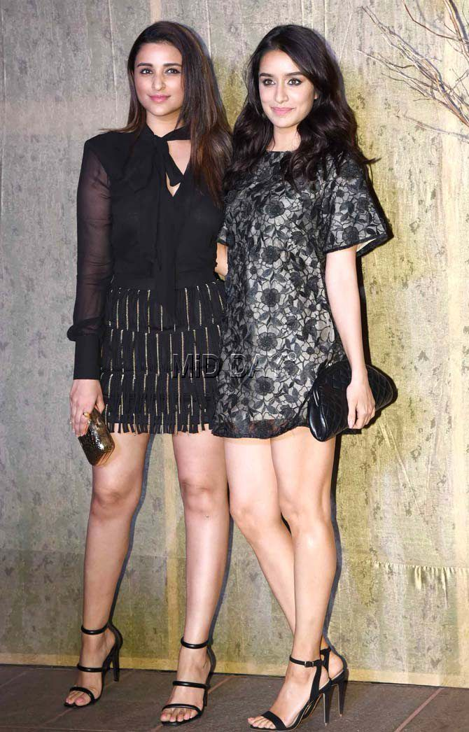 Parineeti Chopra and Shraddha Kapoor at Manish Malhotra's grand birthday bash.