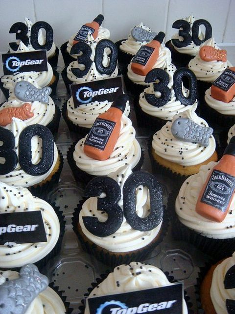 30th Birthday Idea- Cupcakes (Change the jack to redbull and the fish to penguins and this would be perfect for Steve!)