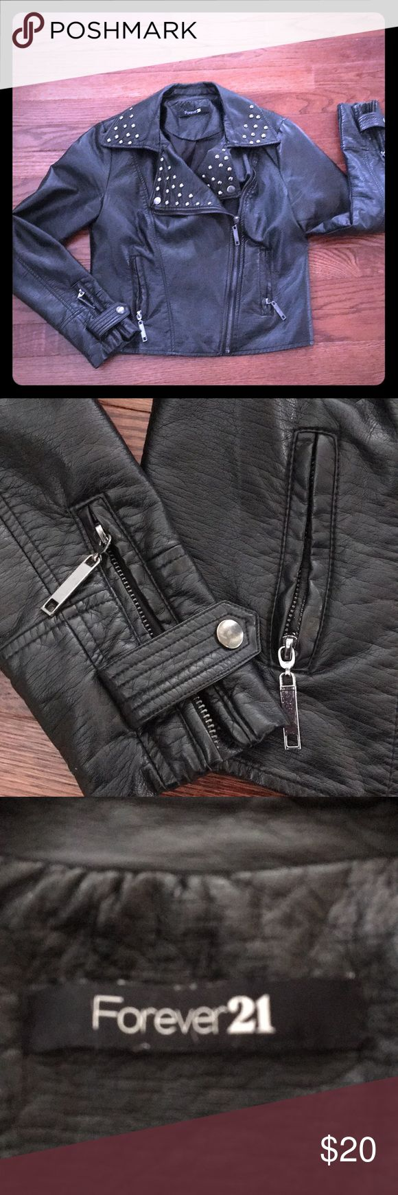 Forever 21 faux leather punk jacket Forever 21 Vegan