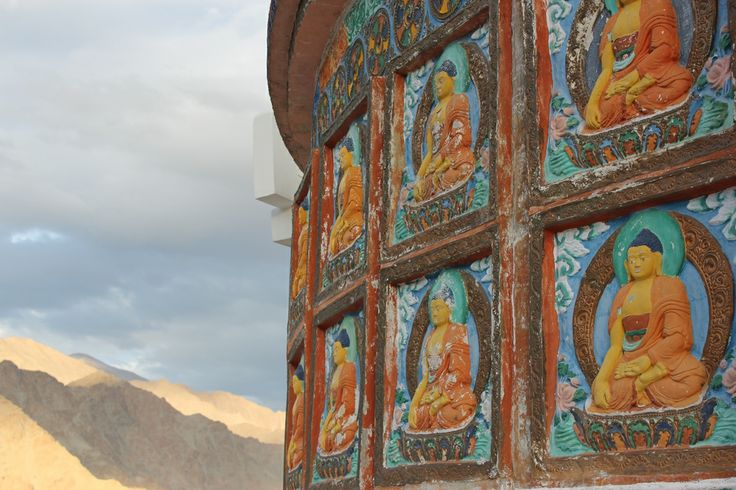 Buddhas on the Shanti Stupa, Leh, ladakh, India