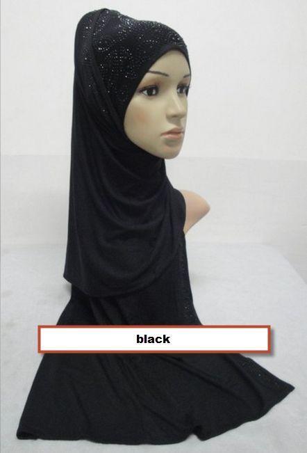 Solid Cotton Jersey Shawl Scarf Hijab Shayla rectangle with Rhinestones Stretchy #rhinestonescarf