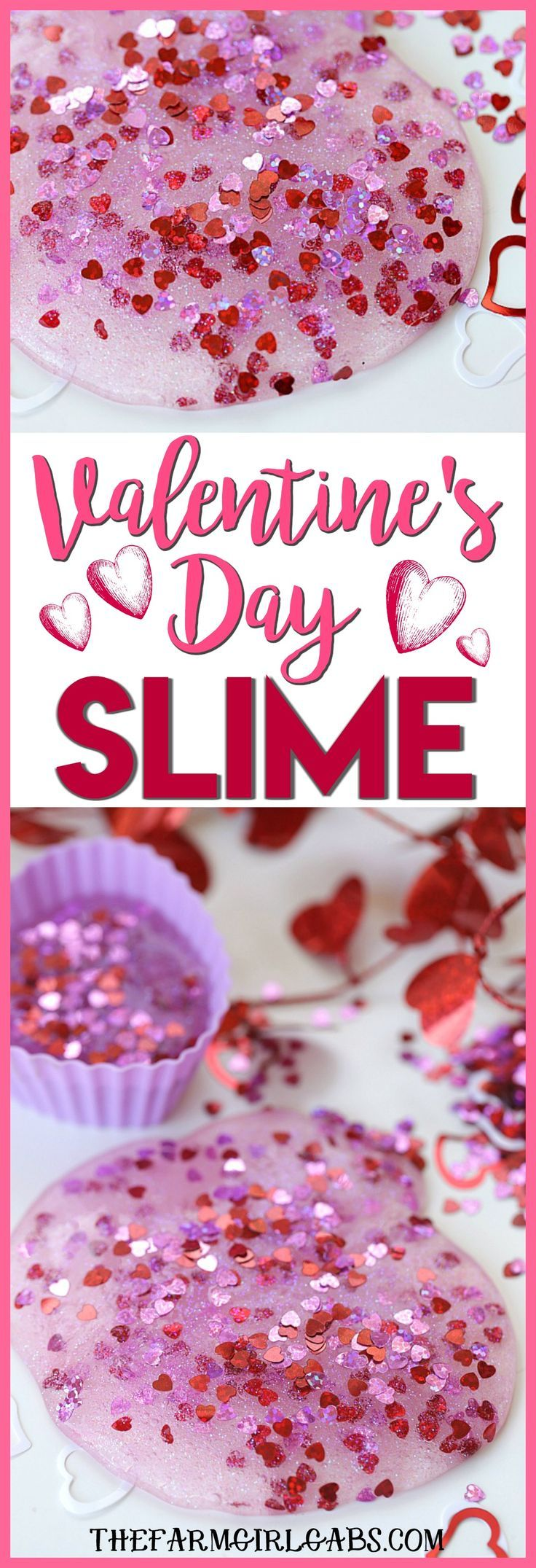 DIY Craft: You and yourkids will LOVE making this easy DIY Valentines Day Slime project. This fun craft makes a great party favor too! #Slime #ValentinesDay #Crafts #DIY #Kids #KidsCrafts #PartyIdeas