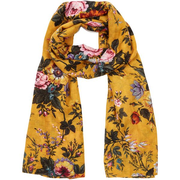 OASIS Fi-Fi Floral Scarf ($23) ❤ liked on Polyvore featuring accessories, scarves, yellow, floral scarves, yellow shawl, floral print scarves, floral shawl and yellow scarves