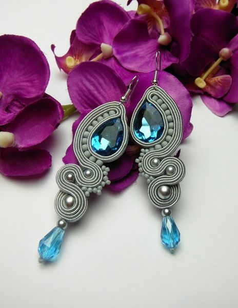 TURQUOISE CRYSTAL long earrings soutache  from Soutacheria by DaWanda.com