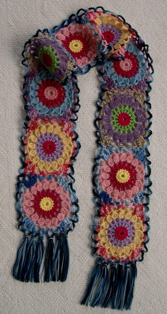 Groovy Textiles:  Crochet Flowers Scarf.