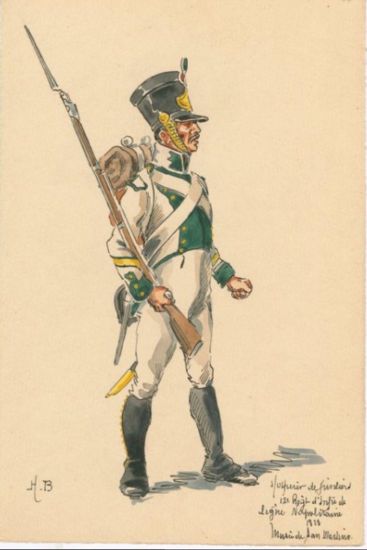 SOLDIERS- Boisselier: S/Officier de Fusiliers; 12e Regt. d'Infie. de ligne Napolitaine, 1813, by H. Boisselier.