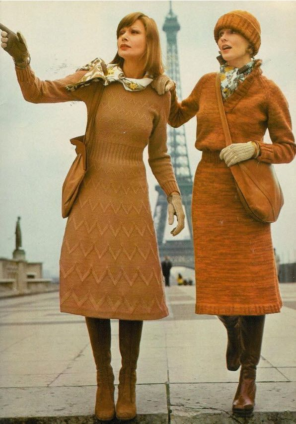 Knits 1974 vintage fashion color photo print ad models magazine designer sweater dress gold tan mustard st john like 70s