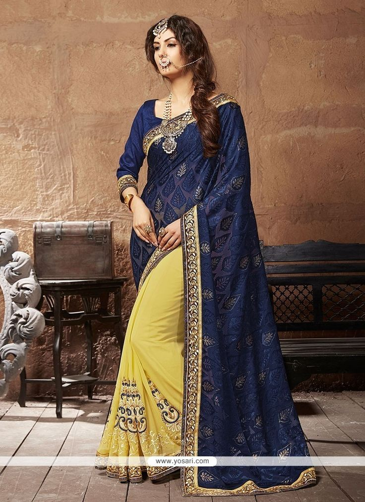 Captivating Yellow Patch Border Work Designer Saree Model: YOSAR6762
