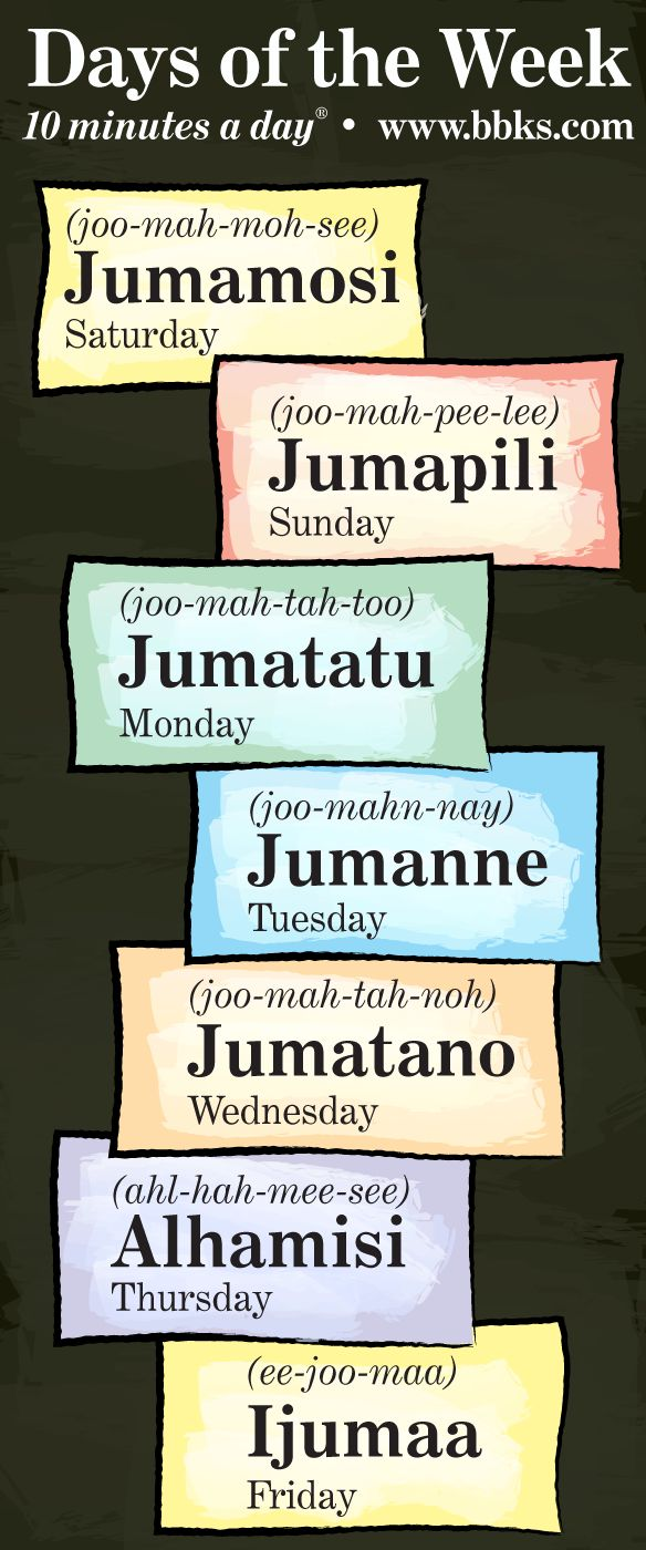 More Swahili vocabulary – learn how to say the days of the week!