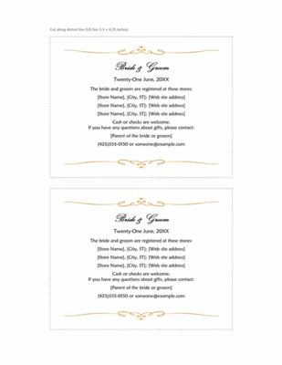 Heart Scroll Wedding Registry Insert Template for Microsoft Word