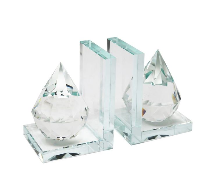 Pair of Beautiful Natural Crystal Clear Diamond Deco Bookends For Bookshelf #SageBrookHome
