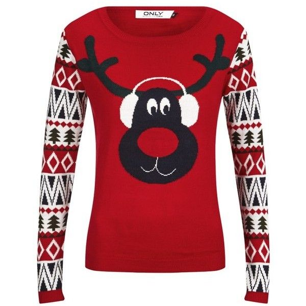 ONLY Women's Aztec Reindeer Christmas Jumper found on Polyvore featuring tops, sweaters, red, aztec sweater, red sweater, red top, christmas tops and sweater pullover
