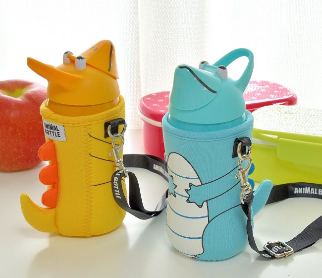 thermo mug(サーモマグ)アニマルボトル ダイナソー(ブルー/イエロー)キッズ用水筒 ストロー式ステンレスボトル 恐竜
