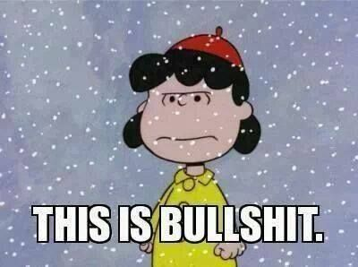 Lucy Van Pelt's opinion on snow in mid-April...