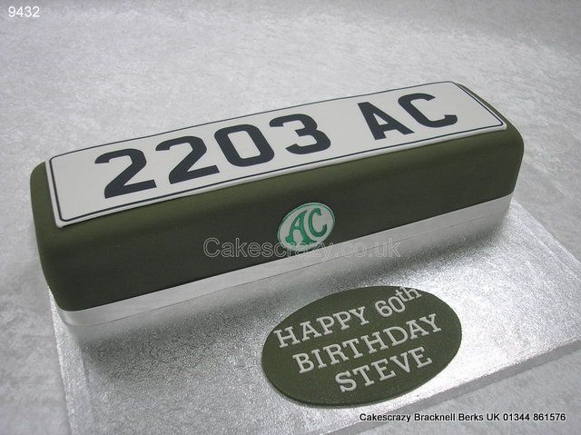 Vehicle Number Plate Cake http://www.cakescrazy.co.uk/details/licence-plate-cake-9432.html