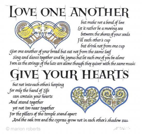 Love One Another Quotes Sayings: An Extract Is Popular At Weddings, From 'The Prophet' By