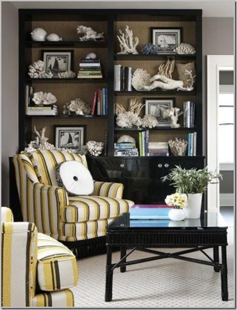 Dark Bookshelves Painted Backs White Woodwork