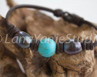 Pearl Türkis Armband - Perle und Türkis - Perle Armband - Perle Leder Schmuck - schwarze Perle Leder Lederarmband