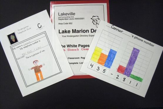 Telephone Book - We make a class phone book to help us practice our phone numbers. I write the child's phone number on the bottom of the graph. The child colors in the correct number of squares. Then the child copies his/her phone number onto the phone book sheet. The child writes the first letter of his/her last name on the letter line and he/she draws a picture of himself/herself. I include a small photo.Child Colors, Phones Numbers, Child Writing, Book Sheet, Phones Book, Class Book, Telephone Book, Correct Numbers, Telephone Numbers