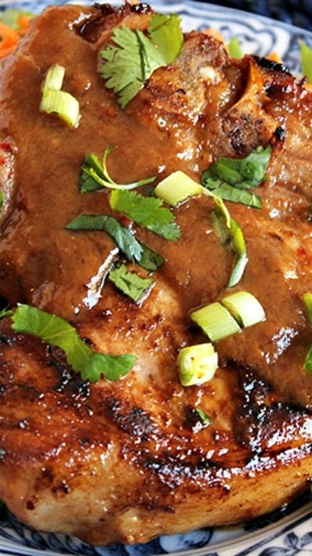Asian-Style Pan-Roasted Pork Chops ~ Better than take out and ready in under 30 minutes, these pork chops are coated with a sticky, sweet, savory glaze that is simply mind-blowing.