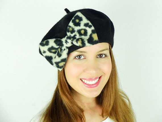 Black Beret Hat Women's Accessories Winter by JuicyBows on Etsy