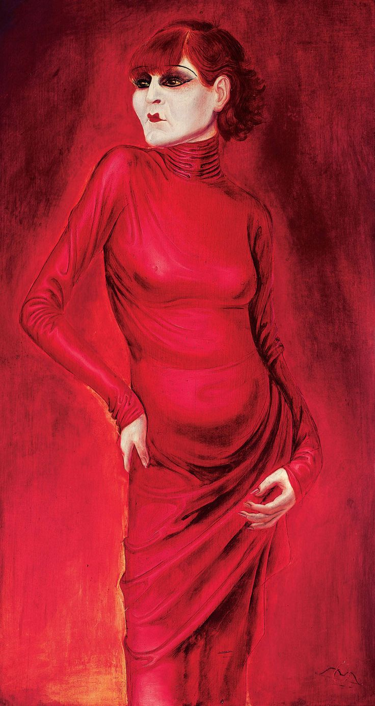 """""""The Dancer Anita Berber,"""" (1925) by Otto Dix (German, 1891-1969). Oil and tempera on plywood."""