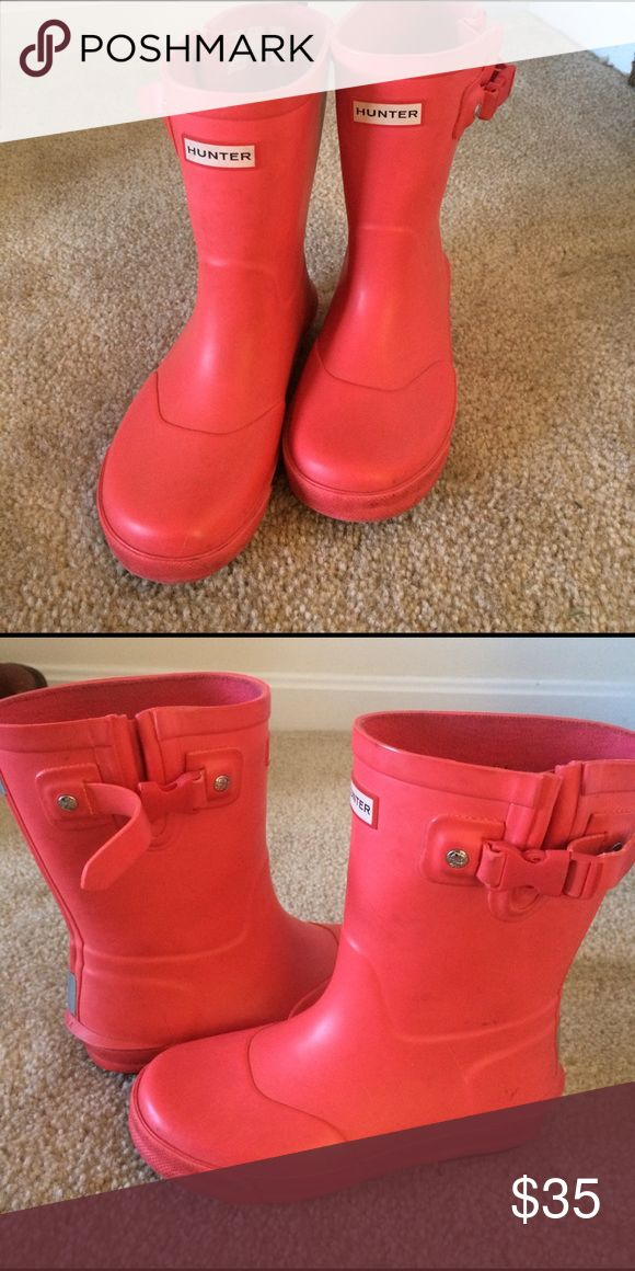 Girls Hunter Boots Bought these from another posher to replace my daughters other pair but they're too big.  Pic of damage on right buckle. Super cute bright pink. Wish they fit! Hunter Boots Shoes Rain & Snow Boots