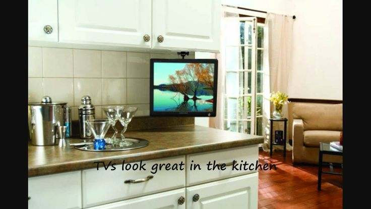 Arrowmounts flip down ceiling or under cabinet mount for for Ceiling mounted kitchen cabinets
